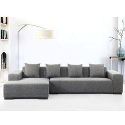 Sofa ciemnoszara - sofa narozna R - tapicerowana - LUNGO, Beliani