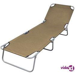 składany leżak z regulowanym oparciem, szarobrązowy (taupe) marki Vidaxl