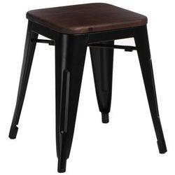 D2.design Stołek paris wood czarny sosna orzech