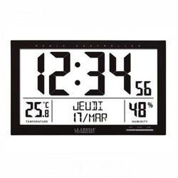 Zegar lcd stacja pogody data sterowany dcf /37x27cm marki La crosse
