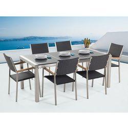 Stół granitowy szary polerowany 180 cm z 6 rattanowymi krzesłami - GROSSETO (7081454058420)