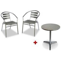 Aluminiowy zestaw ogrodowy montmartre: mały okrągły stół i 2 krzesła marki Vente-unique