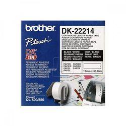 Brother rolki papierowe 12mm x 30.48m, biała, 1 szt., DK22214, do drukowania etykiet z kategorii Pozostałe