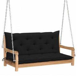 Drewniana huśtawka z czarną poduszką - Paloma 2X, vidaxl_3062872