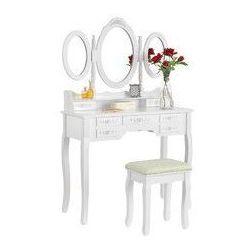 Vanity_b Toaletka biała elsa 3 lustra 7 szuflad + taboret