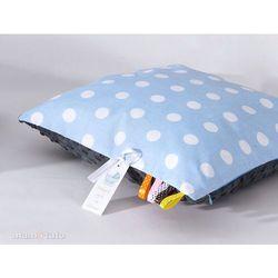 poduszka minky dwustronna 40x40 grochy niebieskie / szary marki Mamo-tato