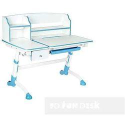 Fundesk Amare ii blue drawer - ergonomiczne, regulowane biurko dziecięce z nadstawką i szufladą