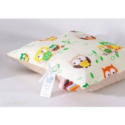 Mamo-tato poduszka minky dwustronna 40x40 sówki kremowe / beż