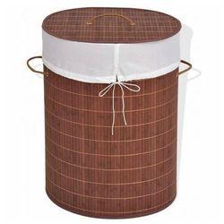 Owalny kosz z bambusa lavandi 3x - brązowy marki Elior