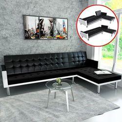 Narożna sofa biało/czarna, vidaXL z VidaXL