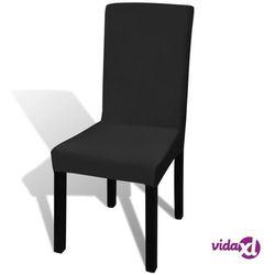 Vidaxl czarne, rozciągliwe pokrowce na krzesła, 6 sztuk