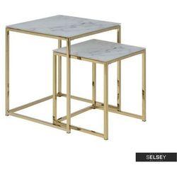 Selsey zestaw stolików kawowych alisma 50x45 cm i 40x35 cm - złota podstawa (5903025210391)