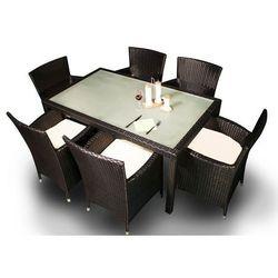 Zestaw mebli ogrodowych stół i krzesła Kontur z tehnorattanu czarny