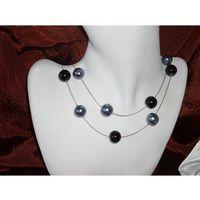 N-00018 Naszyjnik z perełek szklanych, popielatych i czarnych