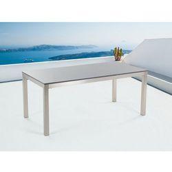Stół szary polerowany ze stali nierdzewnej 180cm - granitowy blat - cała płyta - GROSSETO (7081458953691)