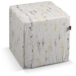 Dekoria Pufa kostka, żółto-szare gałązki na białym tle, 40 × 40 × 40 cm, Acapulco