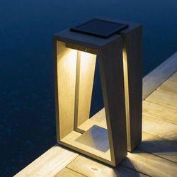 TINKA TECKA - Lampa zewnętrzna latarnia LED akumulatorowa & słoneczna Tek szary Wys.39cm