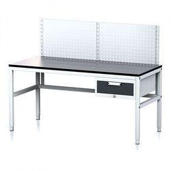 Stół warsztatowy mechanic ii z panelem perforowanym, 1600 x 700 x 745-985 mm, 1 kontener szufladowy, szary/antracyt marki B2b partner