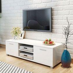 Szafka pod TV na wysoki połysk biała 120x40,3x34,7 cm