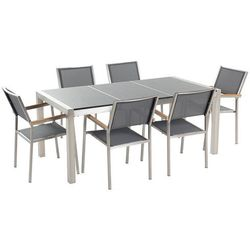 Beliani Meble ogrodowe - stół granitowy 180 cm szary polerowany z 6 szarymi krzesłami - grosseto (7081451046734)