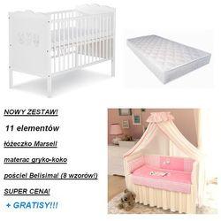 Zestaw łóżeczkowy! 11 elementów! łóżeczko marsell + materac + pościel odbierz swój rabat tylko dzisiaj! marki Belisima