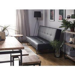 Sofa z funkcją spania skóra ekologiczna czarna 189 cm DERBY mała, kolor czarny