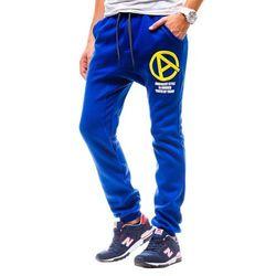 Niebieskie spodnie dresowe baggy męskie Denley NB809 - NIEBIESKI, kolor niebieski