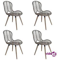 Vidaxl sztaplowane krzesła ogrodowe, 4 szt., naturalny rattan, brązowe