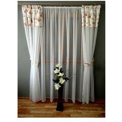 Kasandra Komplet firan i zasłon różyczki z woalu 240x500 do sypialni salonu balkon