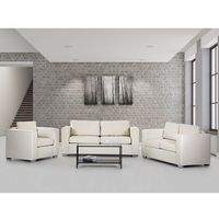 Sofa skórzana beżowa 2 x sofy, 1 x fotel helsinki marki Beliani