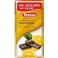 Czekolada gorzka z pomarańczą, bez cukru, bezglutenowa 75g Torras (8410342002013)
