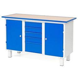 Stół warsztatowy FLEX, stacjonarny, 2 szafki, 5 szuflad, 1435x590x900 mm, 210644