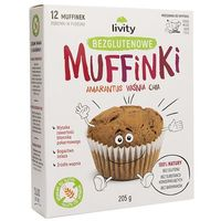 Muffiny z wiśniami i chia bezglutenowe 205g – Livity (5901752708853)
