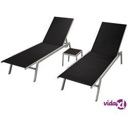 vidaXL Zestaw leżaków, 3 elementy, textilene, czarny