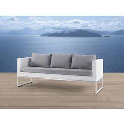 Sofa ogrodowa biała - trzyosobowa - stal szlachetna i rattan - crema od producenta Beliani