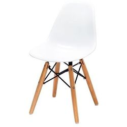 Krzesło dziecięce JUNIOR DSW PREMIUM białe - polipropylen, nogi bukowe, 5900168806849