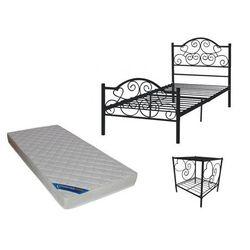 Vente-unique Zestaw chambre dziecięcy leyna – łóżko 90 × 190 cm + materac i szafka nocna – kolor czarny