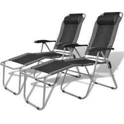 Vidaxl  krzesła kempingowe wypoczynkowe 2 szt szaro-czarne, kategoria: krzesła ogrodowe