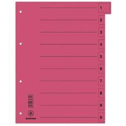 Przekładki DONAU, karton, A4, 235x300mm, 0-9, 10 kart z perforacją, czerwone