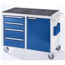 Rau Stół warsztatowy, ruchomy,4 szuflady, 1 drzwi, półka metalowa z matą gumową