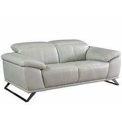 2-osobowa sofa skórzana AZIDEE - Kolor jasnoszary