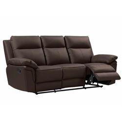 Sofa 3-osobowa z mechanizmem relaksu ze skóry bawolej pakita -brązowa marki Vente-unique