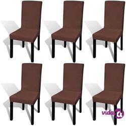 Vidaxl elastyczne pokrowce na krzesła, 6 szt., brązowe