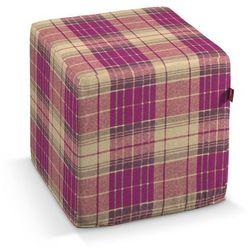 pokrowiec na pufę kostke, różowo-beżowa kratka, kostka 40 × 40 × 40 cm, mirella marki Dekoria
