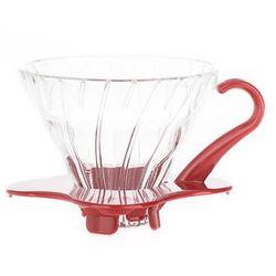 Hario Drip szklany czerwony V60 01 kwadratowy