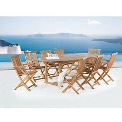 Stół ogrodowy - drewniany - rozkładany 180/220x74cm + 8 krzeseł - java marki Beliani
