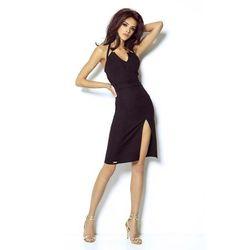 Czarna Mini Sukienka Wiązana na Karku, w 3 rozmiarach