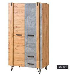 szafa dwudrzwiowa berace z szufladami dąb/beton marki Selsey