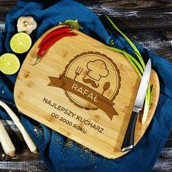 Najlepszy Kucharz - deska do krojenia z grawerem - Deska bambusowa