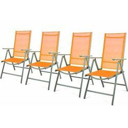 Komplet 4 krzesła aluminiowe rozkładane ogrodowe pomarańczowe